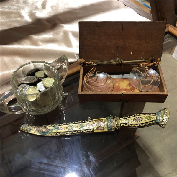 Antique gold scale w/ wooden box/ enameled brass letter opener & jar of assorted world coins