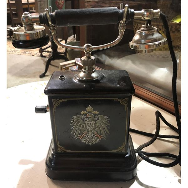 Early 1900's black Bakelite table top crank telephone w/ phoenix rising decal