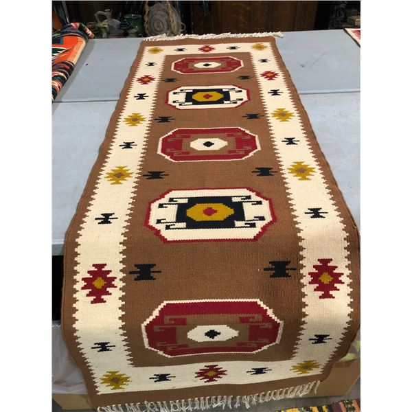 Native American First Nations hand knotted Navajo rug - approx. 80in x 28in