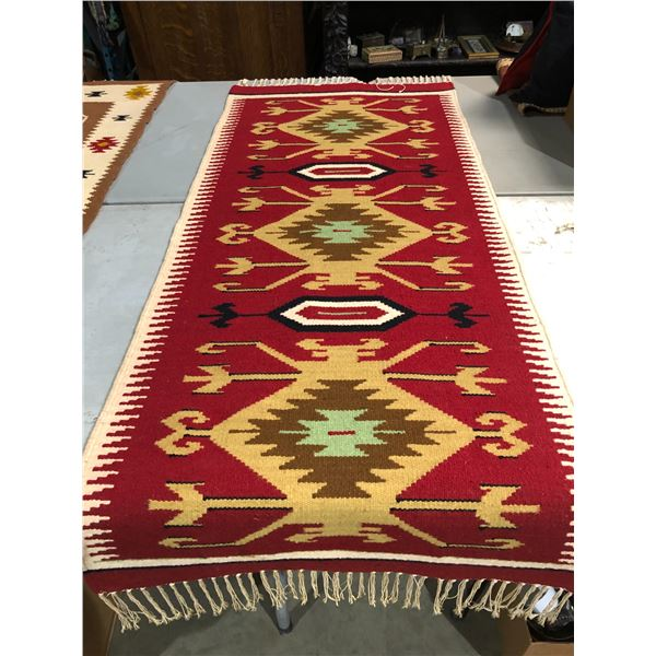 Native American First Nations hand knotted Navajo rug - approx. 65in x 28in