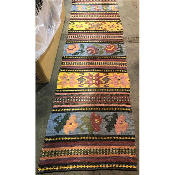 Hand-woven runner area rug - approx. 12ft x 2ft