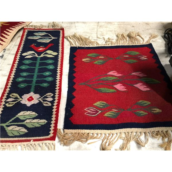 Two small hand-knotted rugs - approx. 23in x 9in & 16in x 16in