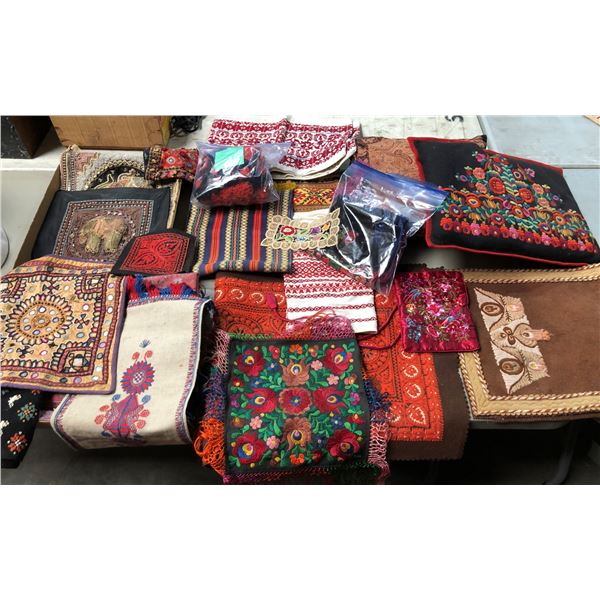 Large group of assorted small hand-crafted/ hand-knotted rugs/ pillows etc. (mostly Ukrainian & Sout