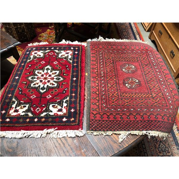 Two small hand-knotted Persian area rugs - approx. 19 1/2in x 27in & 24in x 16in