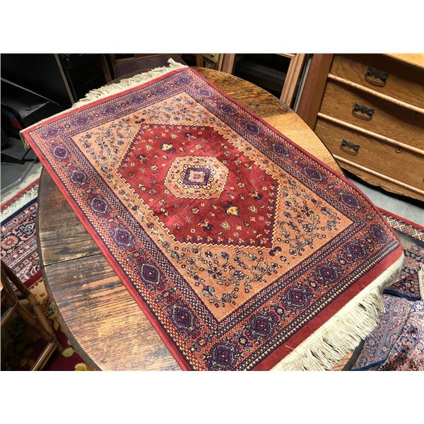 Two blended silk Persian prayer rugs - approx. 43in x 26in & 44in x 27 1/2in