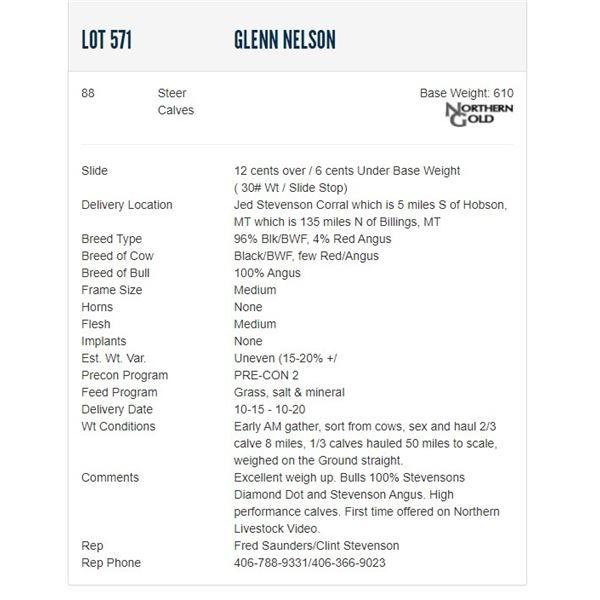 Glenn Nelson - 88 Steers; Base Weight: 610