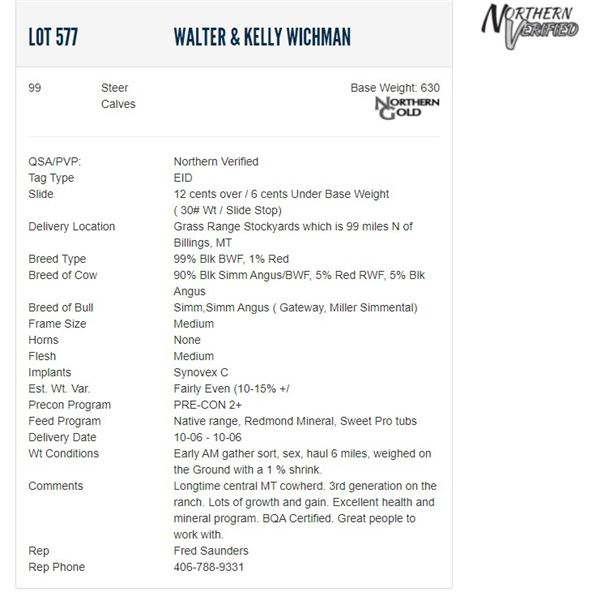 Walter & Kelly Wichman - 99 Steers; Base Weight: 630