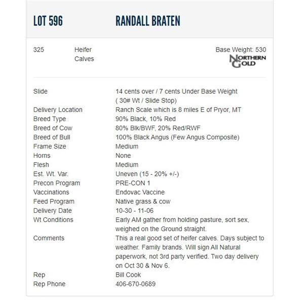 Randall Braten - 325 Heifers; Base Weight: 530