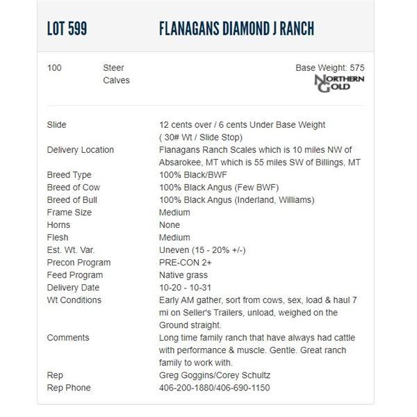 Flanagans Diamond J Ranch - 100 Steers; Base Weight: 575