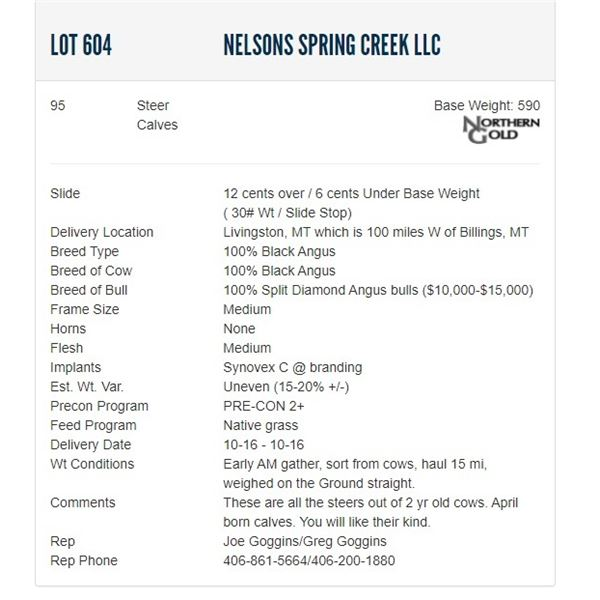 Nelsons Spring Creek LLC - 95 Steers; Base Weight: 590