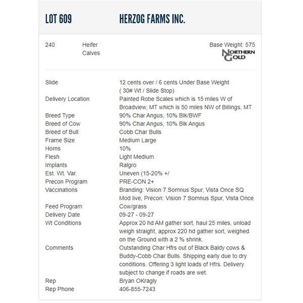 Herzog Farms Inc. - 240 Heifers; Base Weight: 575