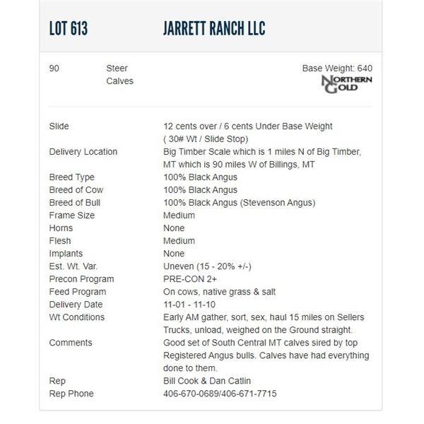 Jarrett Ranch LLC - 90 Steers; Base Weight: 640