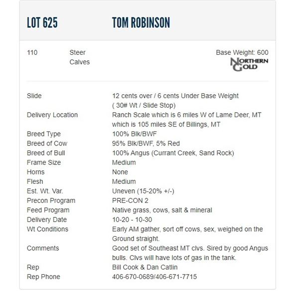 Tom Robinson - 110 Steers; Base Weight: 600