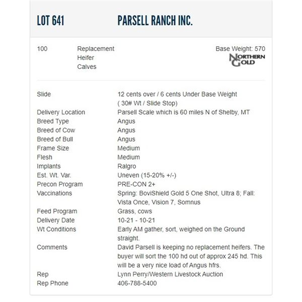 Parsell Ranch Inc. - 100 Replacement Heifers; Base Weight: 570