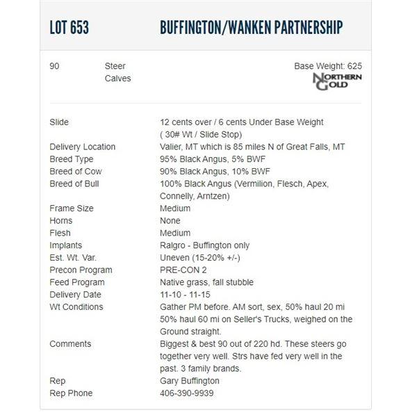 Buffington/Wanken Partnership - 90 Steers; Base Weight: 625