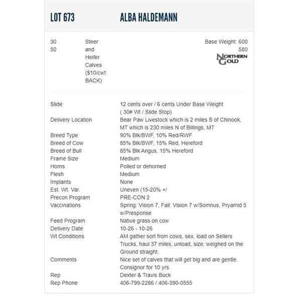 Alba Haldemann - 30/50 Steers/Heifers; Base Weight: 600/580