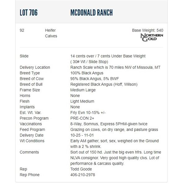McDonald Ranch - 92 Heifers; Base Weight: 540