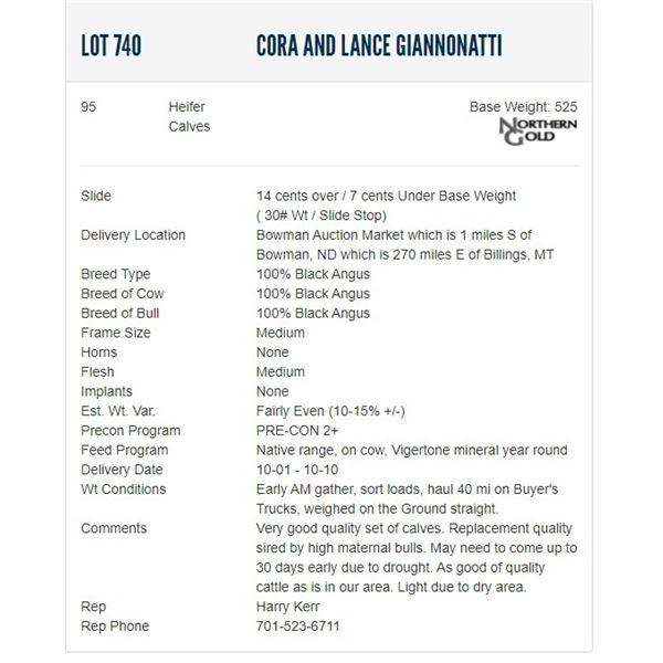 Cora and Lance Giannonatti - 95 Heifers; Base Weight: 525
