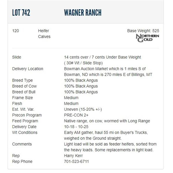 Wagner Ranch - 120 Heifers; Base Weight: 525
