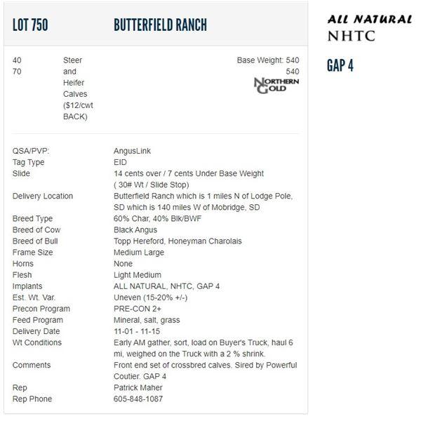 Butterfield Ranch - 40/70 Steers/Heifers; Base Weight: 540/540