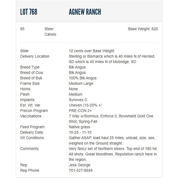 Agnew Ranch - 95 Steers; Base Weight: 620