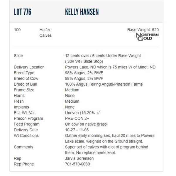 Kelly Hansen - 100 Heifers; Base Weight: 620