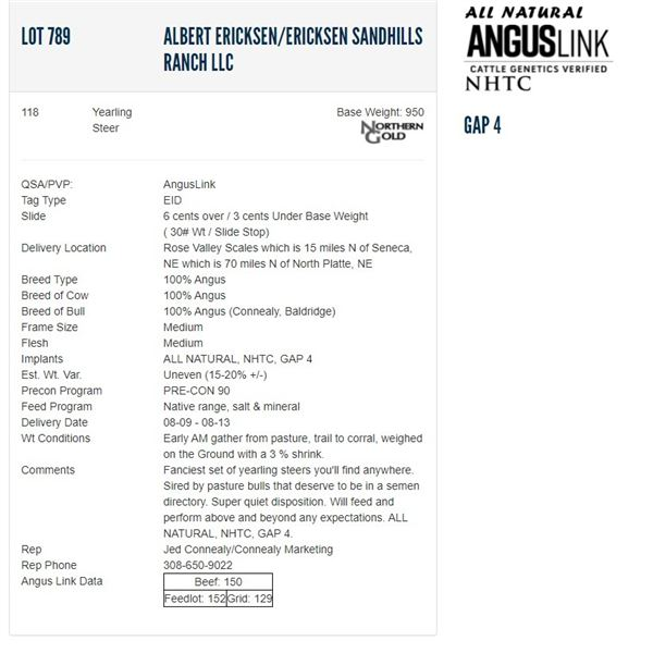 Albert Ericksen/Ericksen Sandhills Ranch LLC - 118 Steers; Base Weight: 950