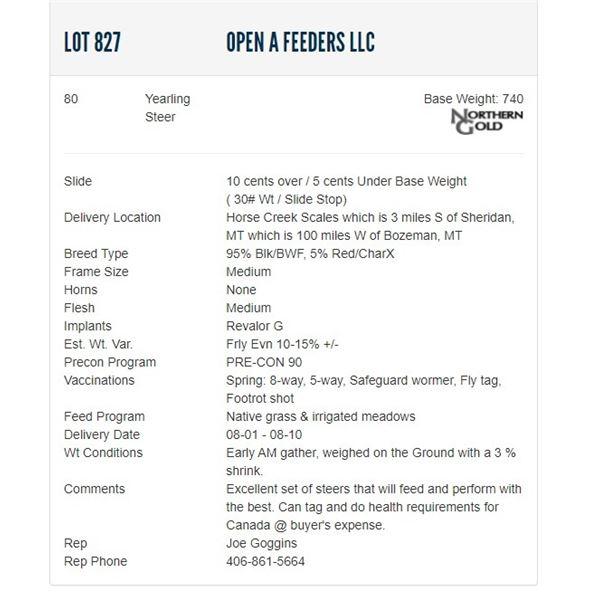 Open A Feeders LLC - 75 Steers; Base Weight: 750