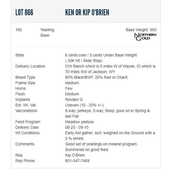 Ken or Kip O'Brien - 190 Steers; Base Weight: 950