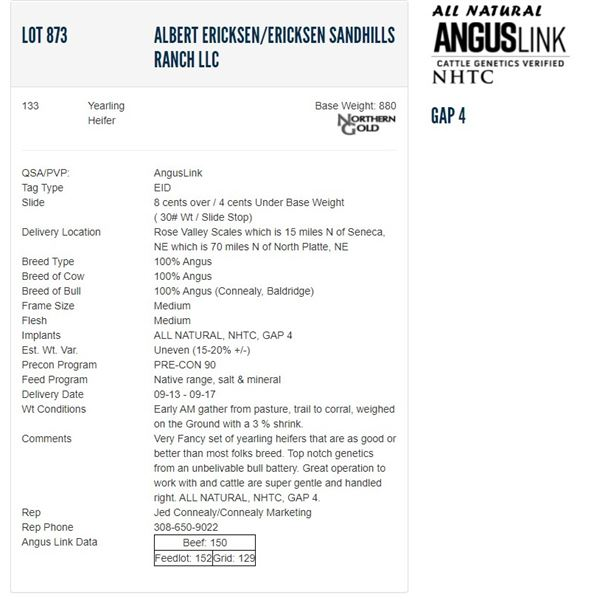 Albert Ericksen/Ericksen Sandhills Ranch LLC - 133 Heifers; Base Weight: 880