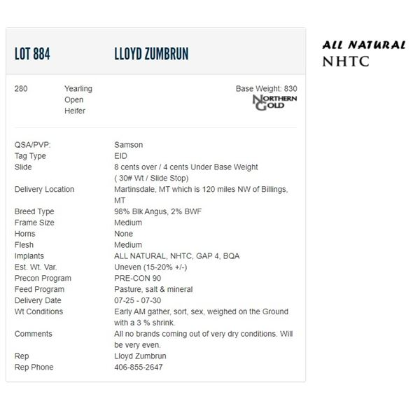 Lloyd Zumbrun - 280 Open Heifers; Base Weight: 830