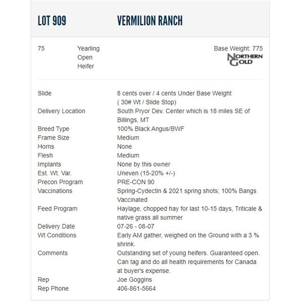 Vermilion Ranch - 350 Open Heifers; Base Weight: 750