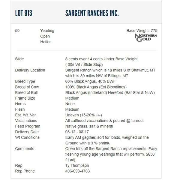 Sargent Ranches Inc. - 50 Open Heifers; Base Weight: 775