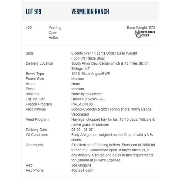 Vermilion Ranch - 425 Open Heifers; Base Weight: 850