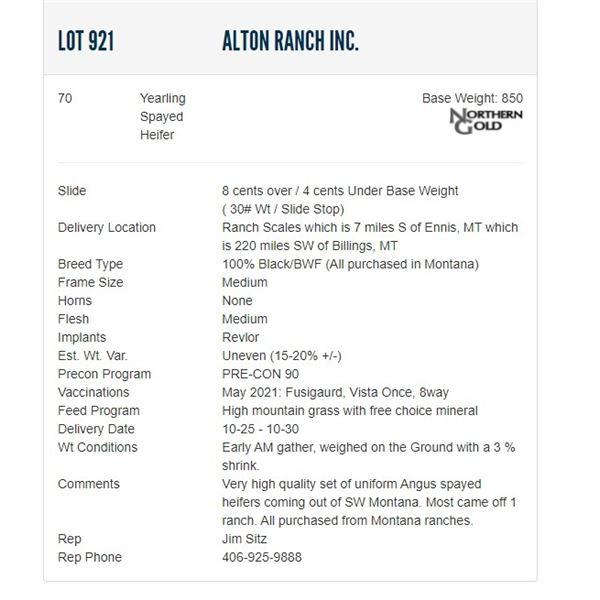 Alton Ranch Inc. - 70 Spayed Heifers; Base Weight: 850