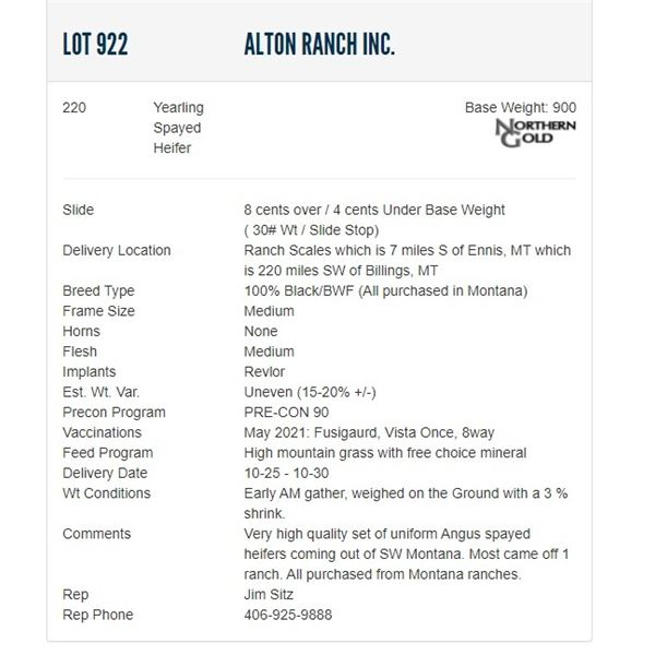 Alton Ranch Inc. - 220 Spayed Heifers; Base Weight: 900