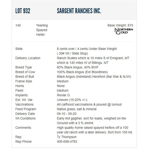 Sargent Ranches Inc. - 140 Spayed Heifers; Base Weight: 875