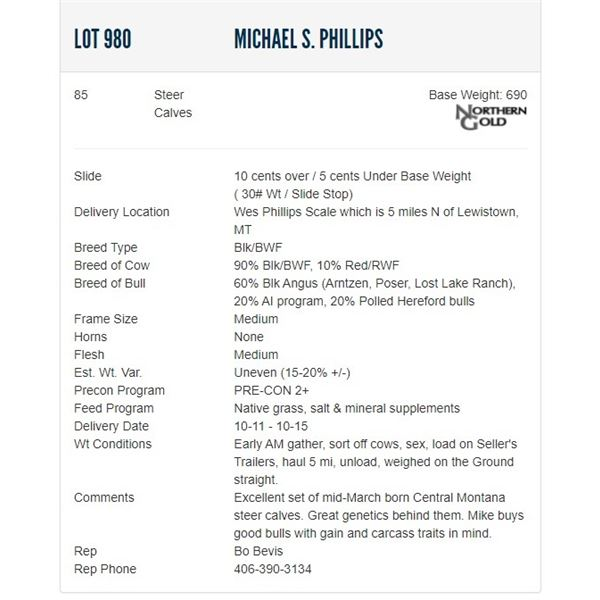 Michael S. Phillips - 85 Steers; Base Weight: 690