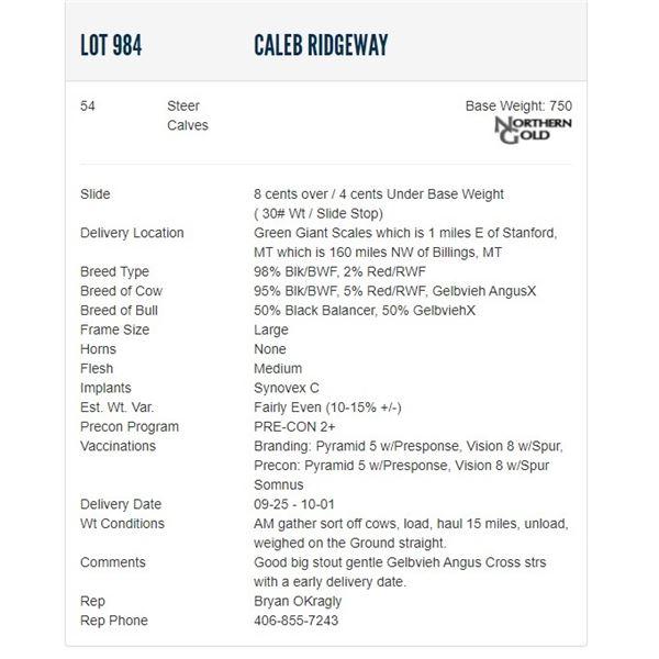 Caleb Ridgeway - 54 Steers; Base Weight: 750