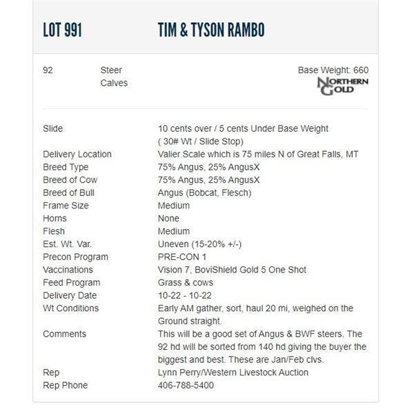 Tim & Tyson Rambo - 92 Steers; Base Weight: 660