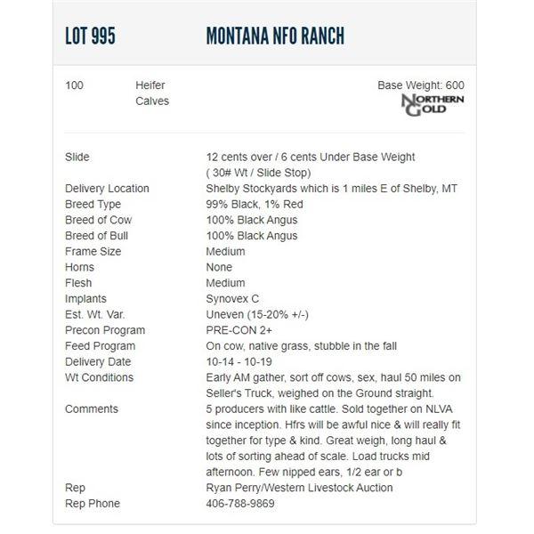 Montana NFO Ranch - 100 Heifers; Base Weight: 600