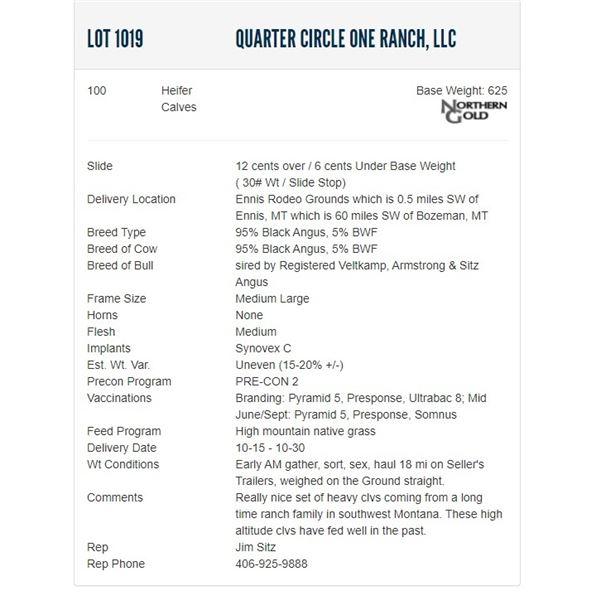 Quarter Circle One Ranch, LLC - 100 Heifers; Base Weight: 625