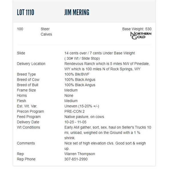Jim Mering - 100 Steers; Base Weight: 530