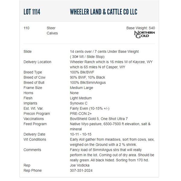 Wheeler Land & Cattle Co LLC - 110 Steers; Base Weight: 540