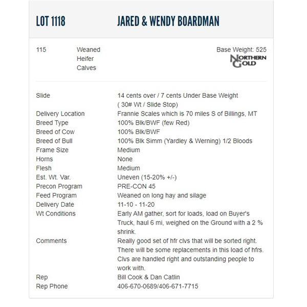 Jared & Wendy Boardman - 115 Weaned Heifers; Base Weight: 525