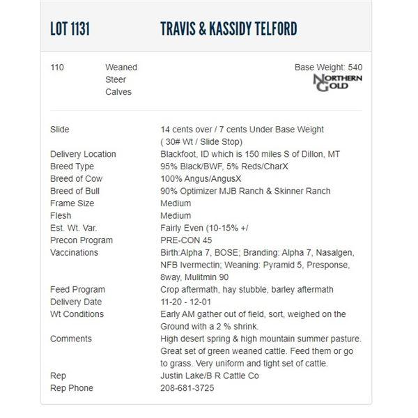 Travis & Kassidy Telford - 110 Weaned Steers; Base Weight: 540