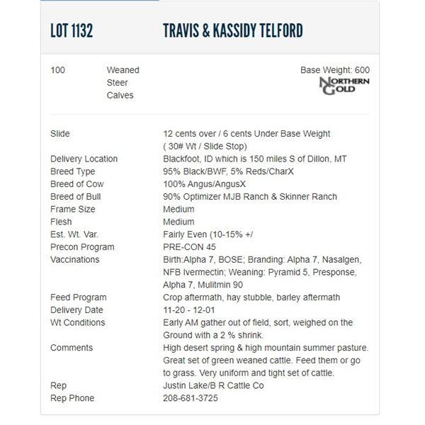 Travis & Kassidy Telford - 100 Weaned Steers; Base Weight: 600