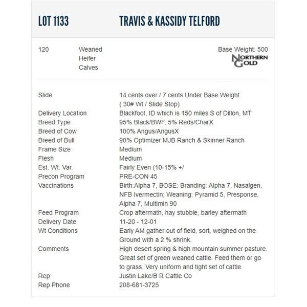 Travis & Kassidy Telford - 120 Weaned Heifers; Base Weight: 500