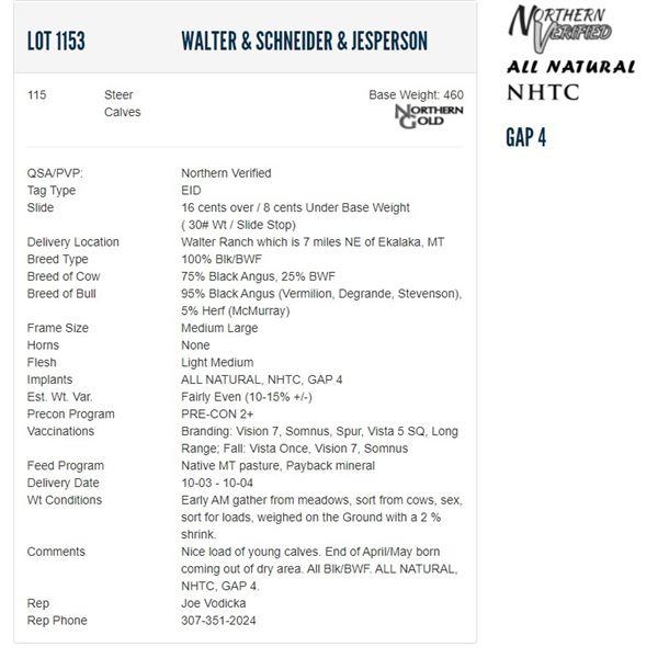 Walter & Schneider & Jesperson - 115 Steers; Base Weight: 460