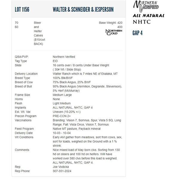 Walter & Schneider & Jesperson - 70/60 Steers/Heifers; Base Weight: 420/400